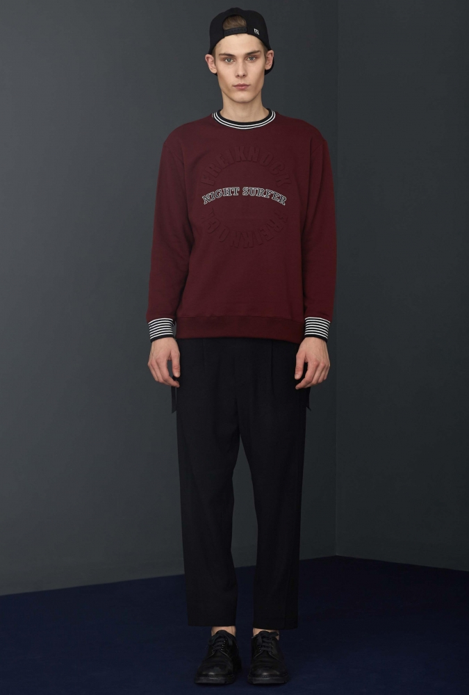 [80% OFF]EMBOSSED SWEAT SHIRTS(BURGUNDY)