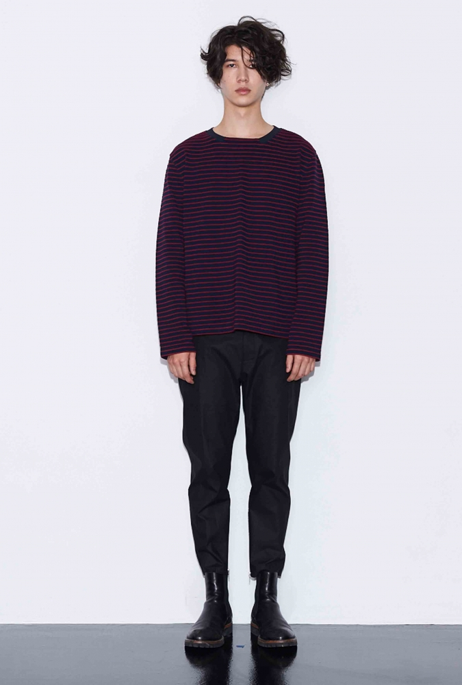 STRIPE LONG-SLEEVE T-SHIRT(BURGUNDY)