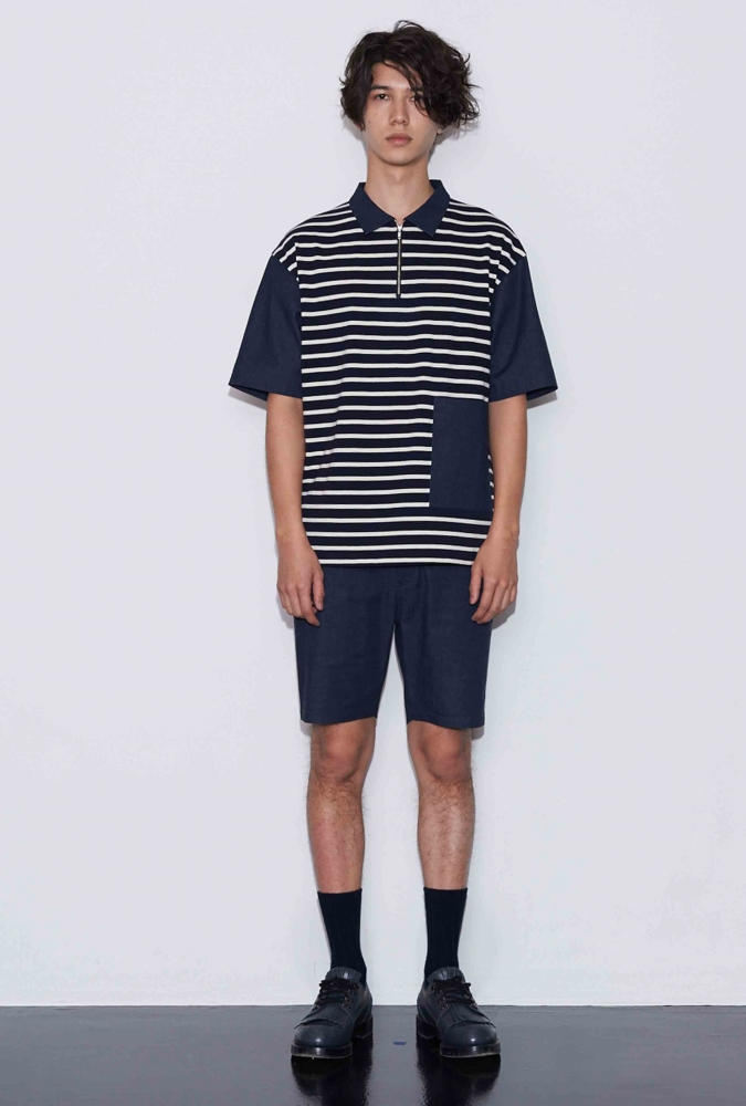 DENIM & STRIPE JERSEY COMBO SHIRT(NAVY)