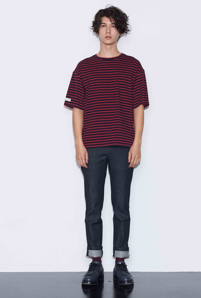 BOX LOGO PRINTED STRIPE T-SHIRT(RED)