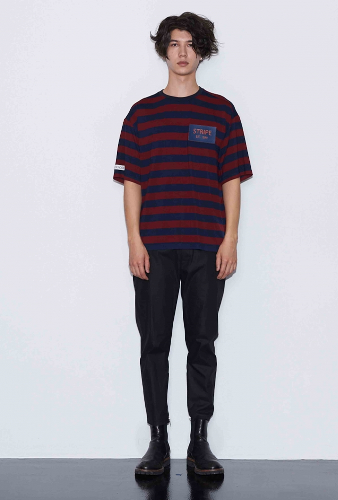 [80% OFF]'STRIPE' PATCH T-SHIRT(BURGUNDY)
