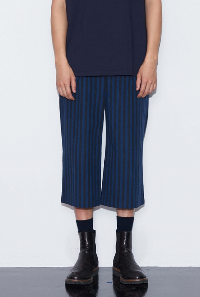 [90% OFF] STRIPE WIDE PANTS(NAVY)
