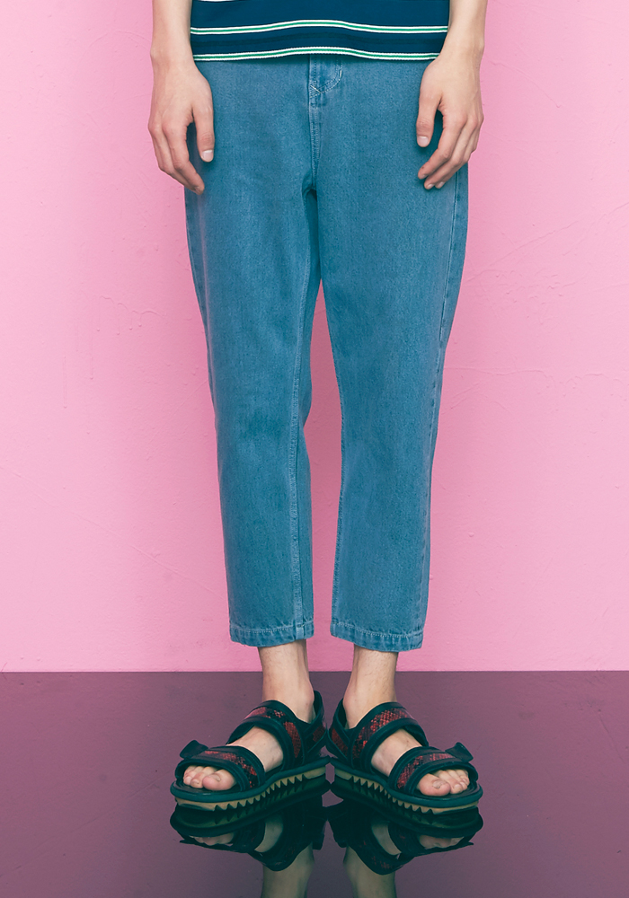 CROPPED DENIM PANTS(BLUE)