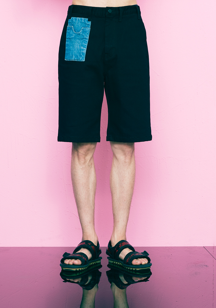 DENIM POCKET SHORT PANTS(BLACK)