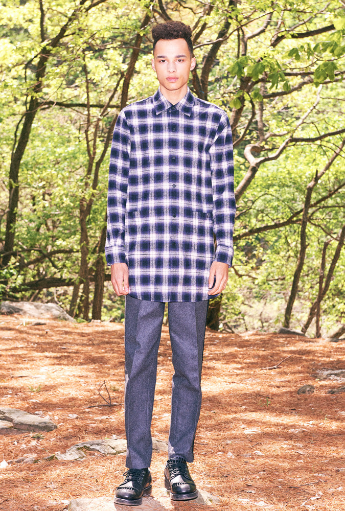 BACK PRINT LONG PLAID SHIRT(NAVY)