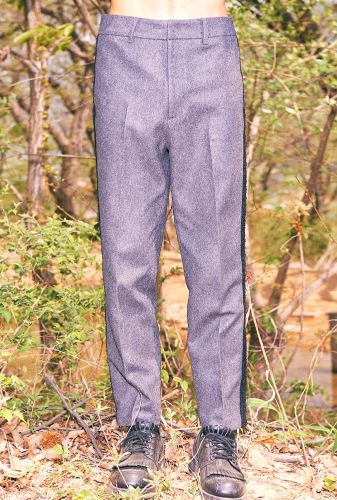 SIDE LINE WOOL PANTS(GREY)