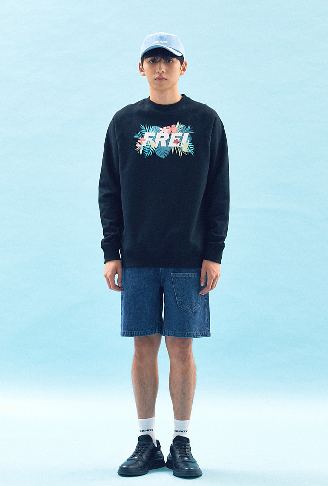 [50% OFF] FLOWER BASED BIG LOGO SWEATSHIRT(BLACK)