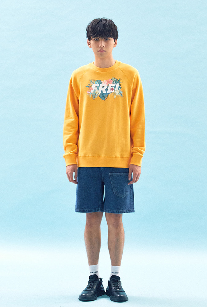 [50% OFF] FLOWER BASED BIG LOGO SWEATSHIRT(YELLOW)