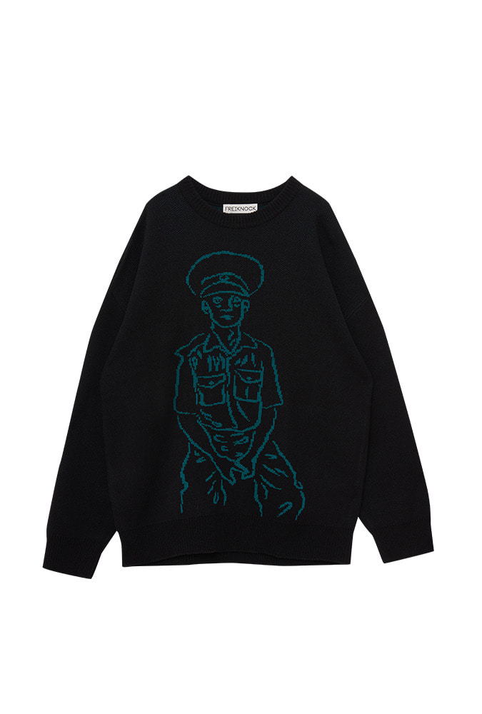 [50% OFF] POLICE MAN DRAWING KNIT PULLOVER(BLACK)