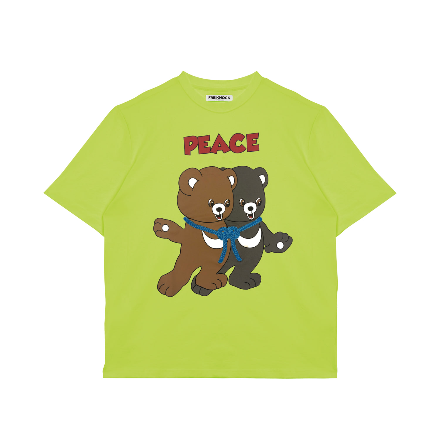 [20% OFF] PEACE BEAR T-SHIRT(NEON GREEN)
