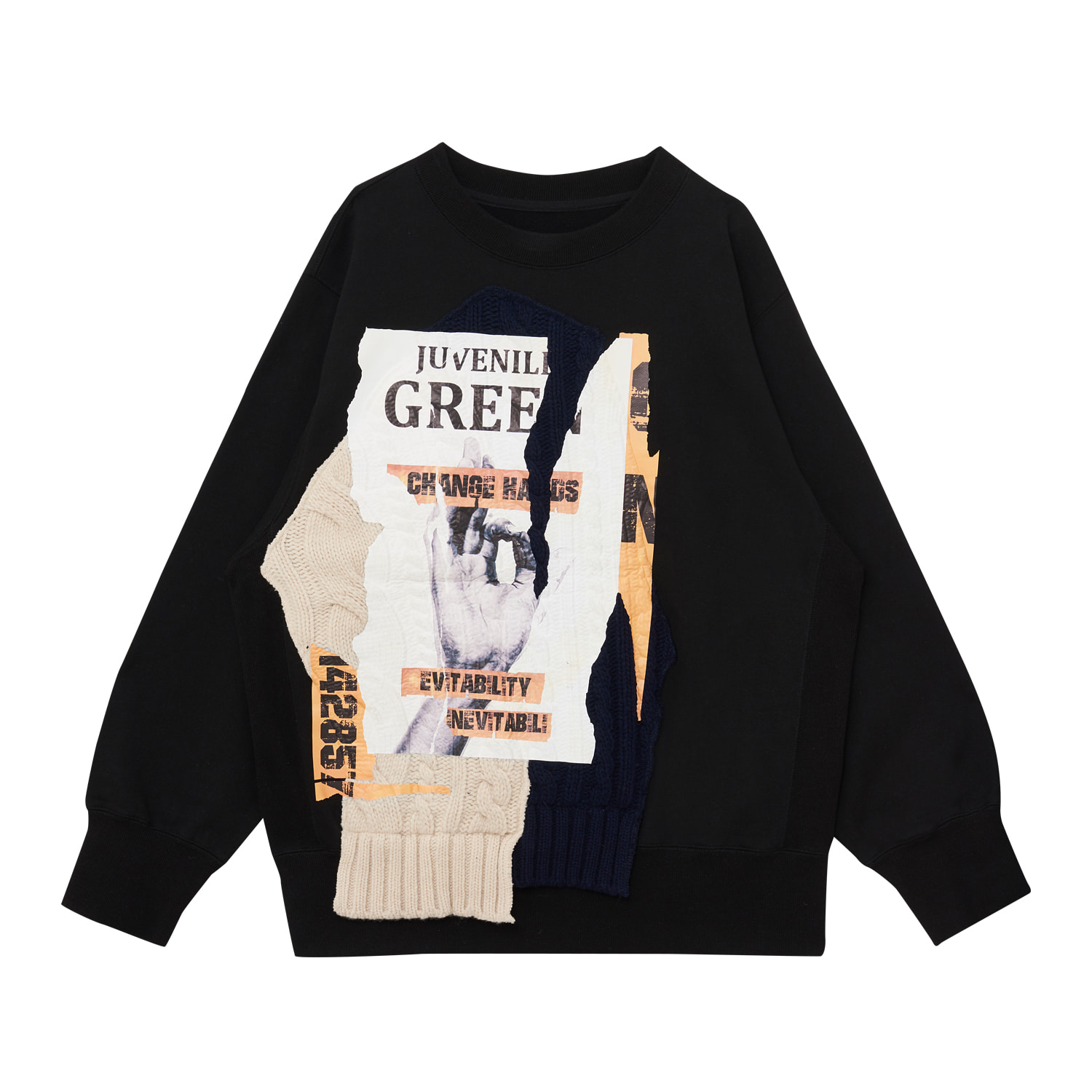 KNIT PATCH WORK SWEATSHIRT(BLACK)
