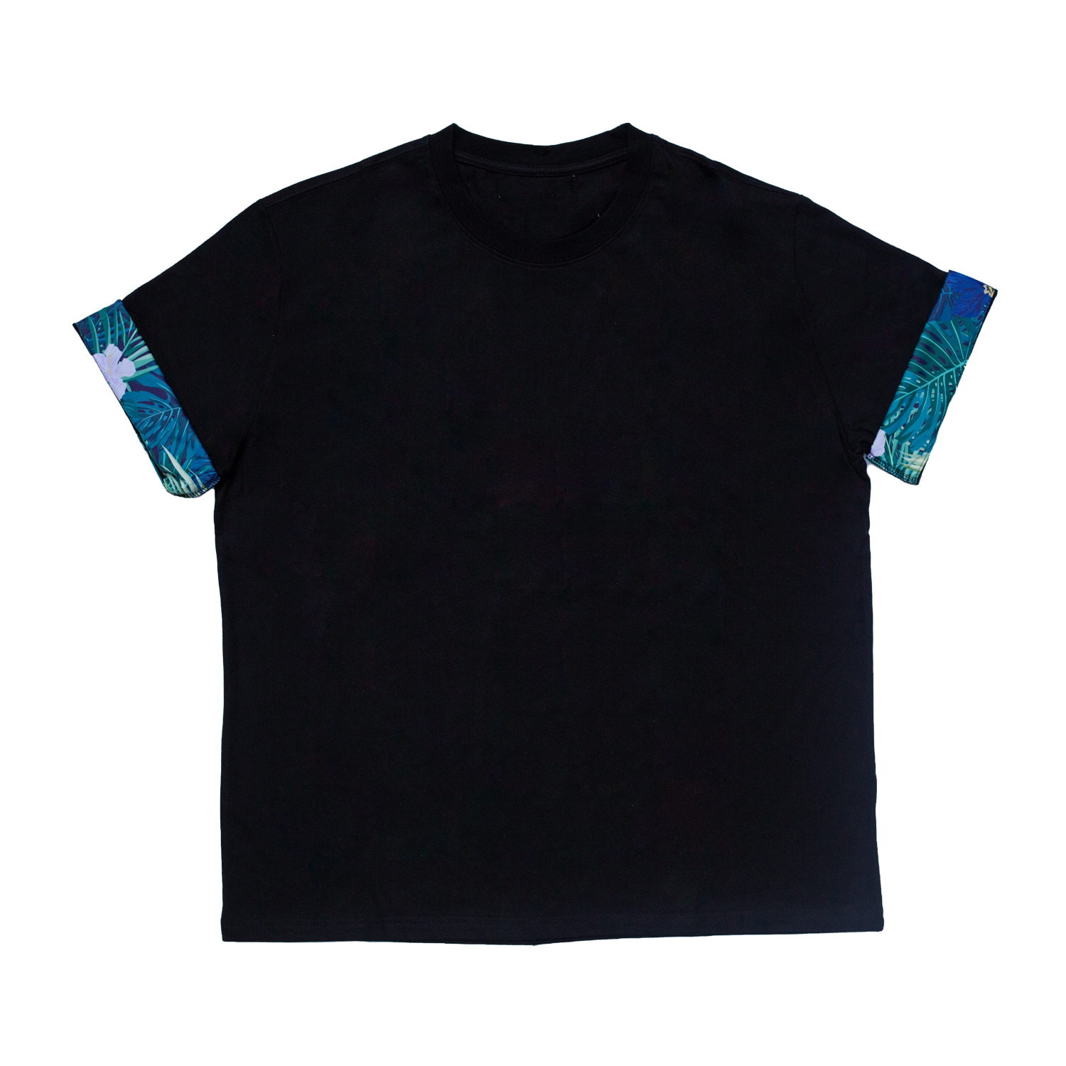 FLOWER TRIM T-SHIRT(BLACK)