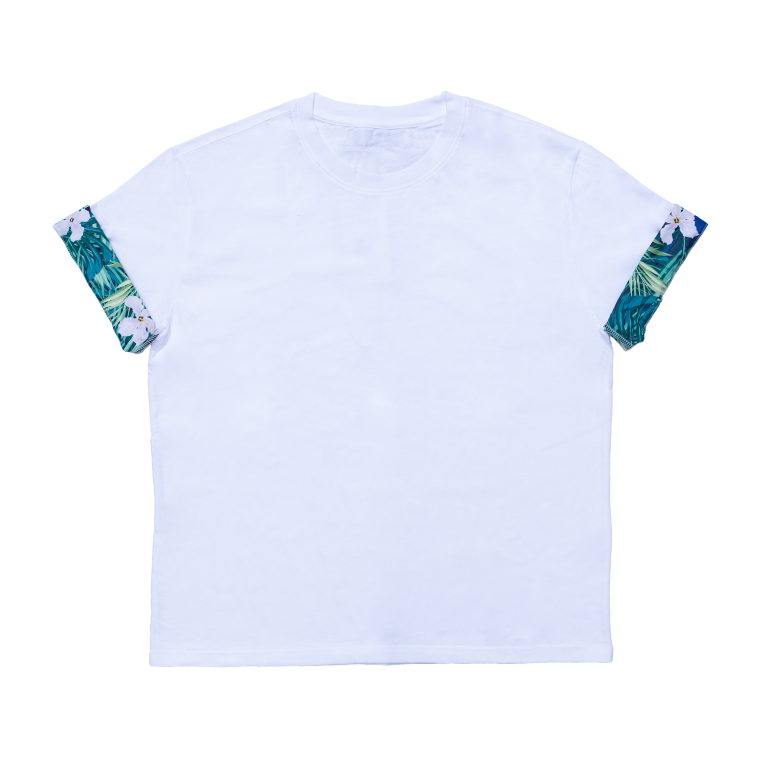 FLOWER TRIM T-SHIRT(WHITE)
