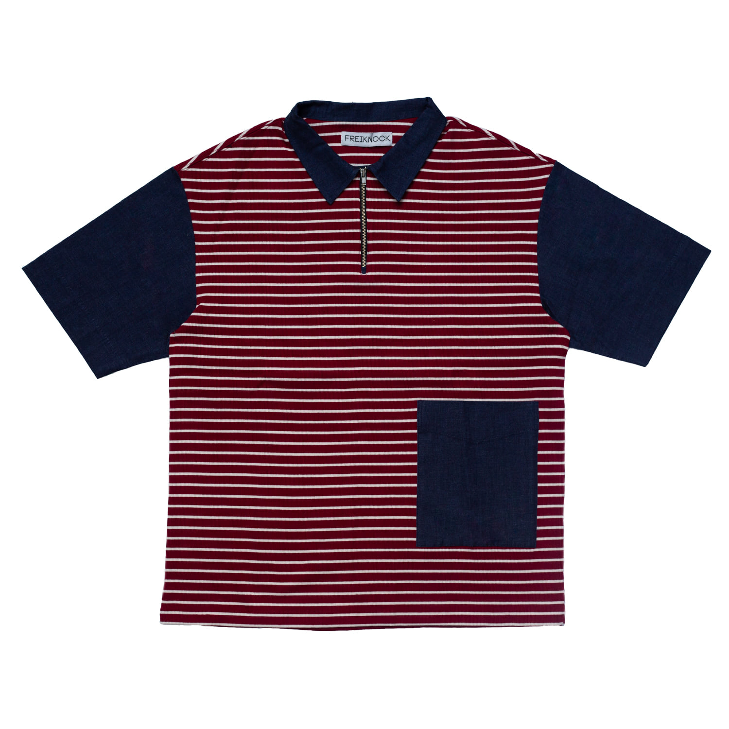 [90% OFF]DENIM & STRIPE JERSEY COMBO SHIRT(BURGUNDY)