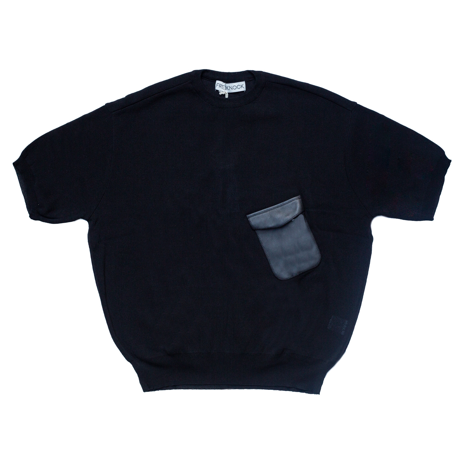 LEATHER POCKET PULLOVER(BLACK)