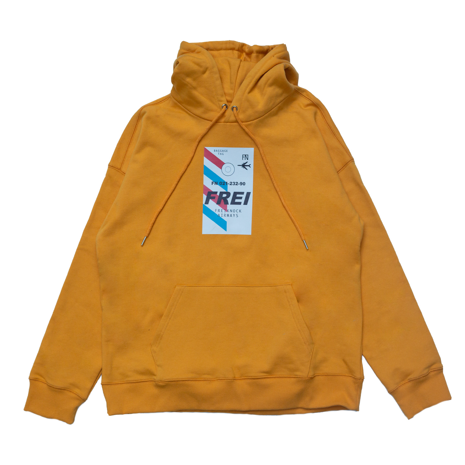 [70% OFF]FLY TICKET PRINTED HOODIE(YELLOW)
