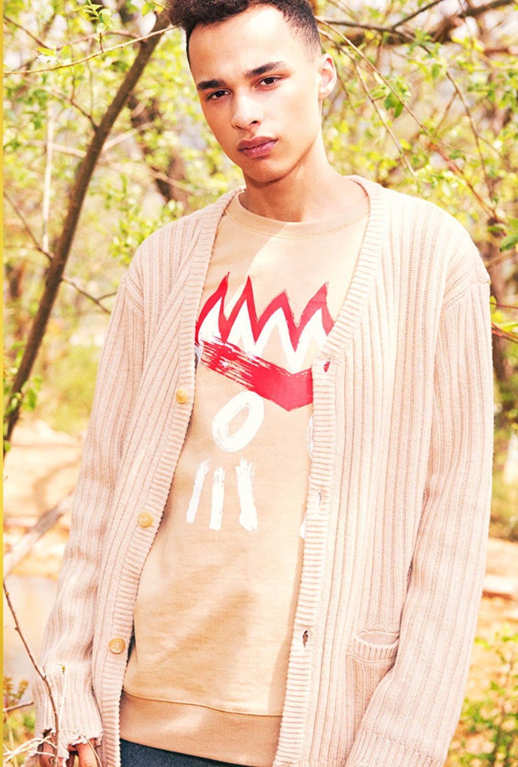 [80% OFF]INDIAN FACE SWEATSHIRT(BEIGE)
