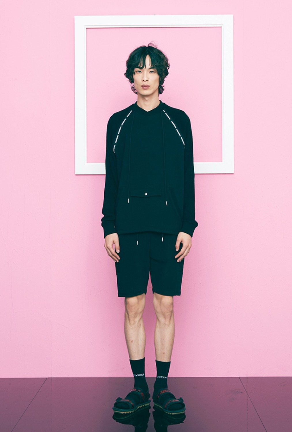 KNIT SLEEVE SWEATSHIRT(BLACK)