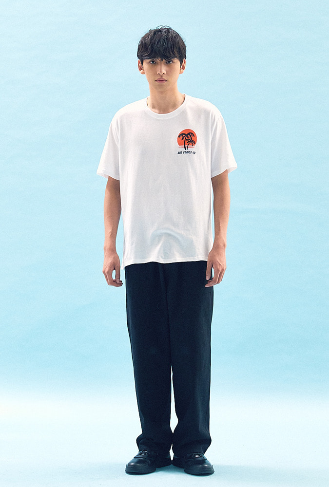 [30% OFF] SUNSET PRINTED T-SHIRT(WHITE)