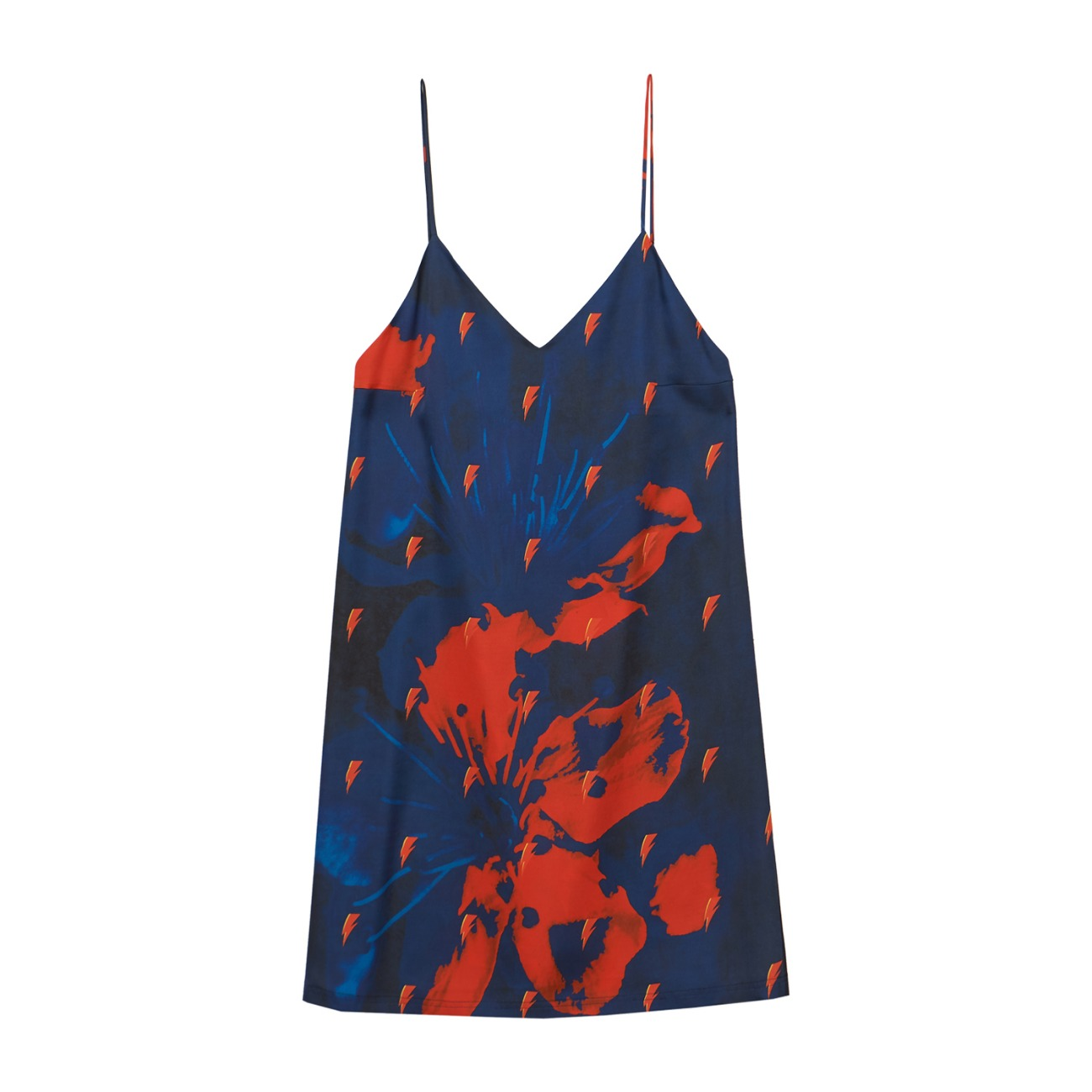 BOWIE PAJAMA SLIP DRESS(NAVY)